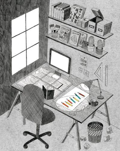 Amelie Fontaine + illustration + ilustração + work space + desk + escritório