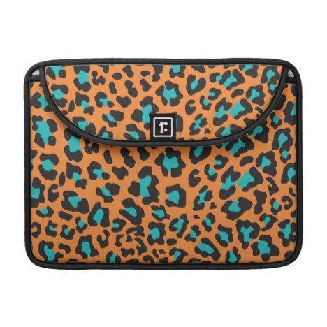 Leopard Print Orange Black Aqua MacBook Pro Sleeve #laptop #computer #ipad #mac #sleeve #bags #modern #colorful