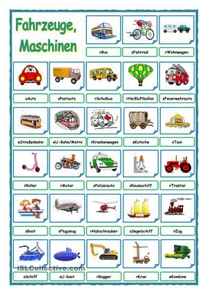 Verkehrsmittel, Fahrzeuge, MaschinenBildwörterbuch. Wenn man die Wörter löscht, bekommt man ein Übungsblatt. - DaF Arbeitsblätter