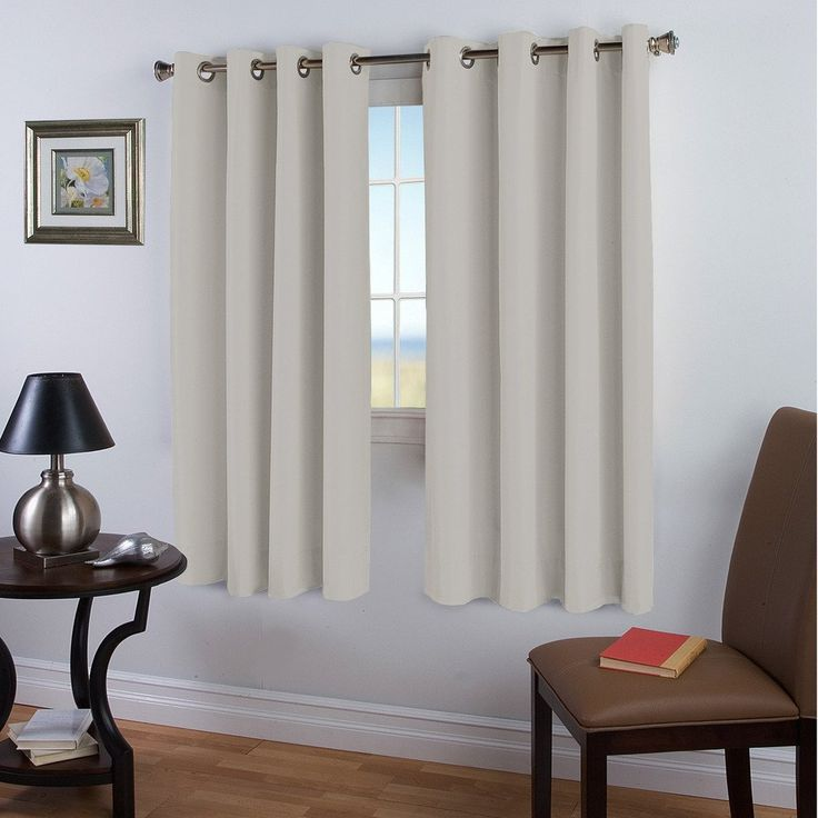 Blackout Room Darkening Curtains, Beige/ Ivory, Thermal Insulated