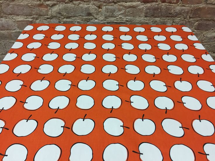 Orange tablecloth with white apples, apple prints, modern style,kitchen tablecloth by SiKriDream on Etsy