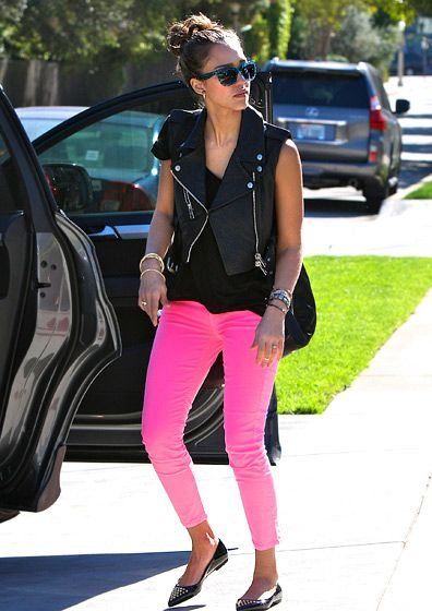 Of course, love the pink pants, the vest is different for Jessica, and def not my style, but looks good together!