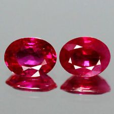 0.82cts- Natural Vivid Red Ruby - Mozambique - Oval Sparkling Pair - Earring Set