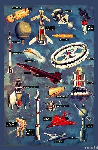 vintage spaceships poster standup 4inx6in