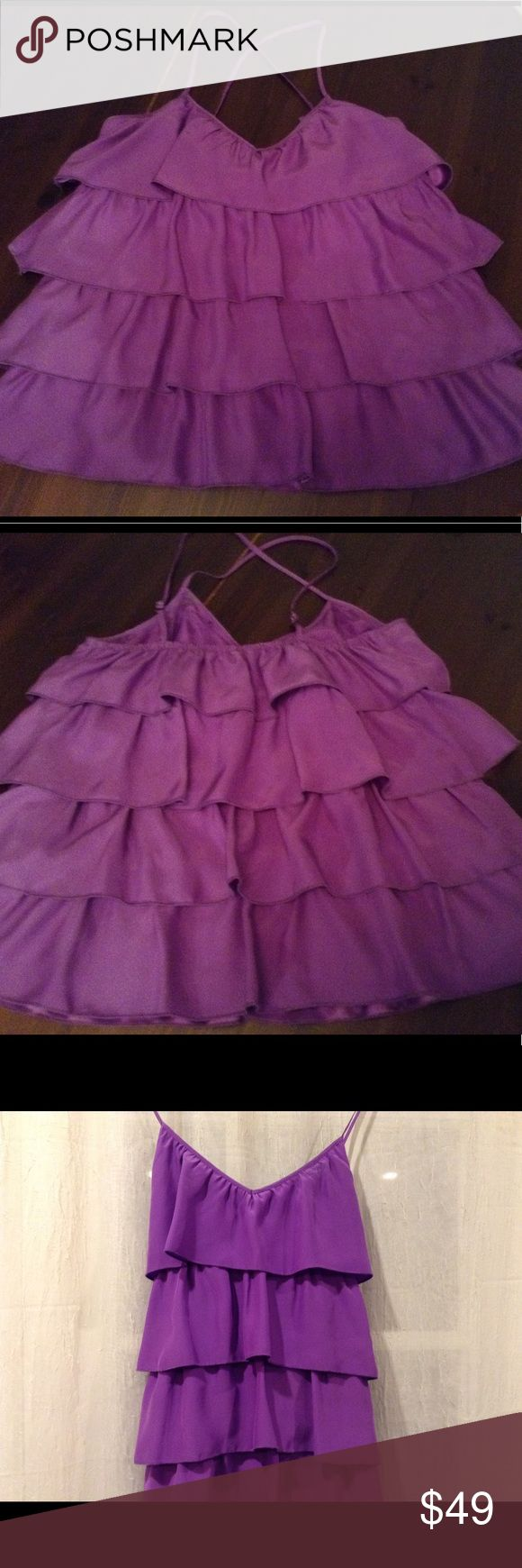Parker purple ruffle cami top size L never worn Parker purple cami top. Adjustable straps. Ruffle tiers. 100% silk  new never worn. Size L but could fit M. Parker Tops Camisoles