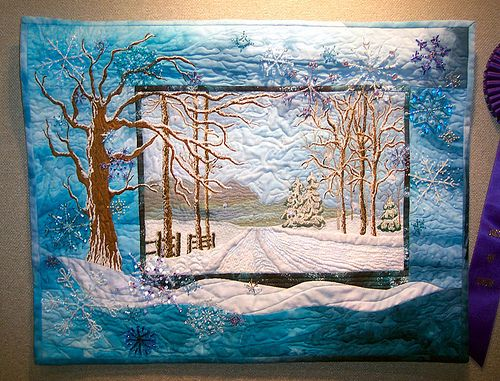 One of the prettiest Landscape quilts I've seen.   Winter Landscape by zephrene, via Flickr