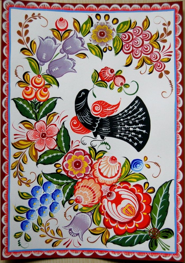 Folk Gorodets painting from Russia. A floral pattern with grapes and a cuckoo…