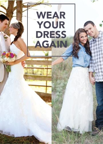 You love the sweetheart neckline of your fit-and-flare bridal gown—so why not wear it again? These style inspirations will show you how to reuse your wedding dress and transform it into something new!