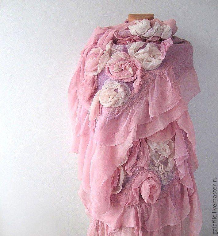 Купить Палантин - Розовые розы - палантин, подарок для женщины, шарф…