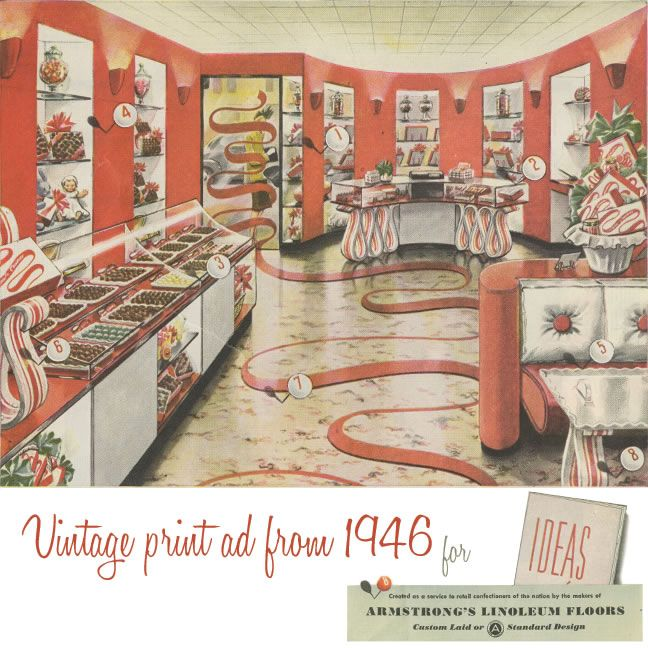 Retro Linoleum Kitchen Flooring: That Time We Redesigned Willy Wonka's House. Armstrong Ad