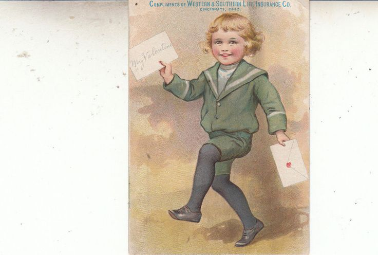 Trading Card Antique Valentine Western Southern Life Insurance Ohio Child #ChildwithValentine #tradingcard