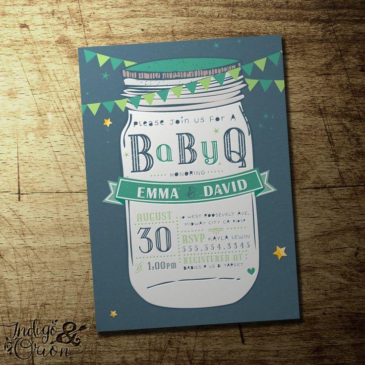 Mason Jar baby shower invitation babyQ couples by IndigoAndOrion