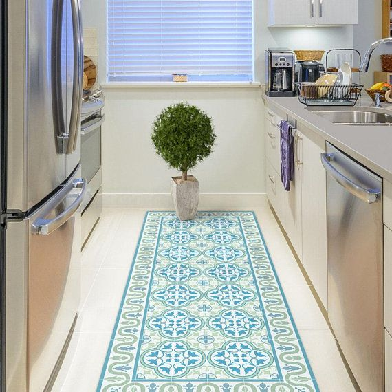 Vinyl Floor Mat With Tiles In Green And Turquoise