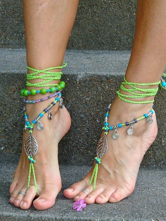 NEON green BAREFOOT sandals LEAF Toe anklets Woodland Fairy Tribal Anklet Sandals Gypsy sole less shoes Crochet sandals Bikini jewelry via Etsy
