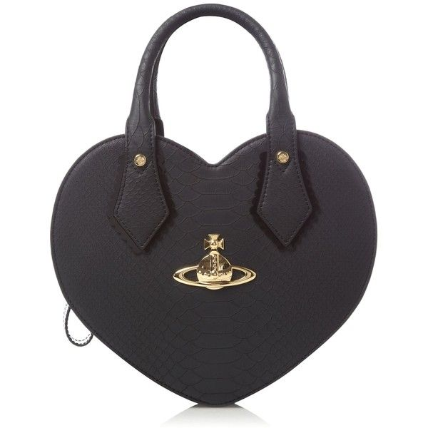 Vivienne Westwood Snake heart small bag ($295) ❤ liked on Polyvore featuring bags, handbags, black, women, heart shaped bag, heart shaped handbag, heart purse, heart shaped purse and snake bag