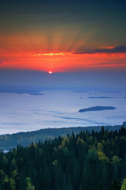 Morning rays in Ukkokoli, Finland.