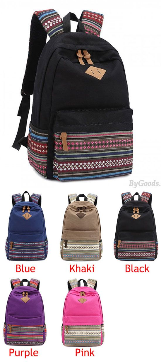 Which color do you like?New Folk Striped College Canvas Backpack  #folk #stripe #college #school #student #college #fashion #sweet #backpack #Bag #canvas #rucksack #travel