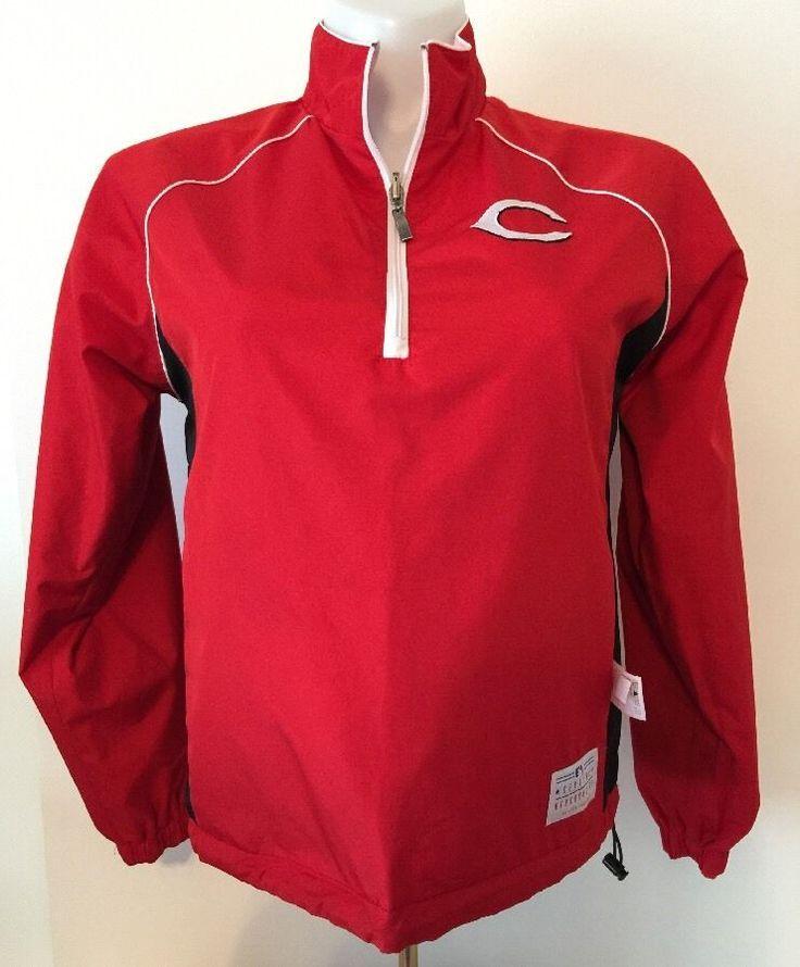 Cincinnati Reds Ladies Women's 1/4 Zip Pullover Jacket Reversible Size Medium M #MLB #CincinnatiReds