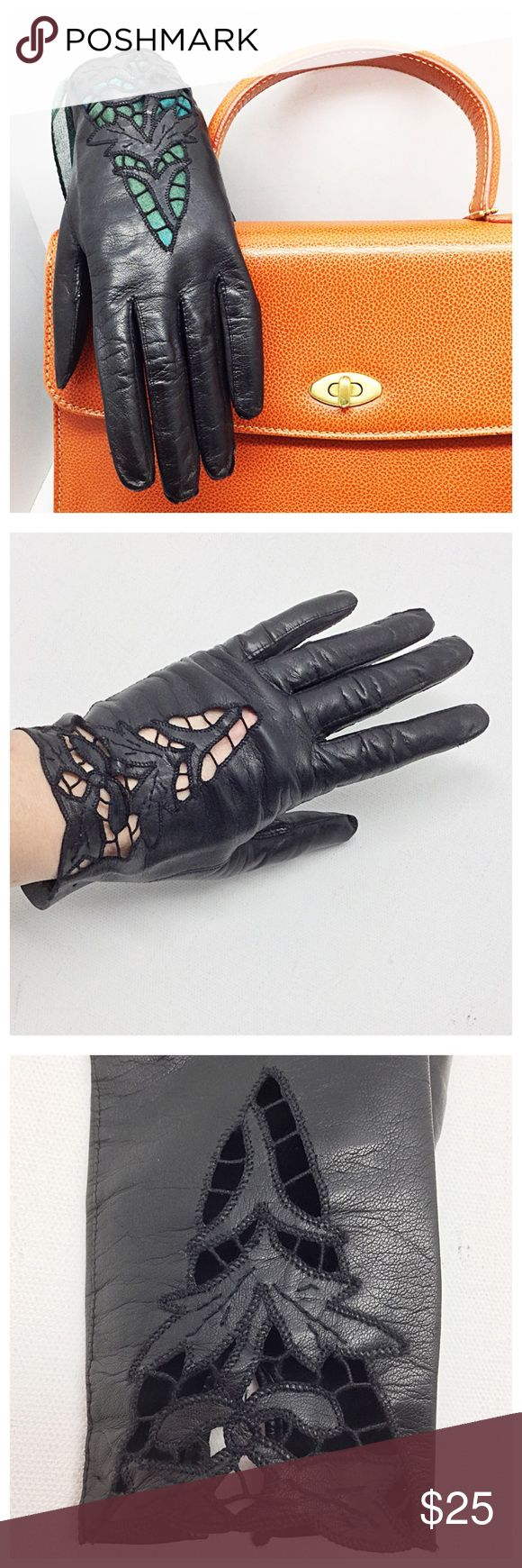 """💋Vintage Lace Cutout Gloves💋 🚫Trades/Holds🚫 *  Buttery soft black leather w/ 'lace' cutouts *  Bracelet length: about 7 3/4"""" middle fingertip to end *  V-shaped gusset between fingers for easy movement *  Soft suede interior *  Measures as sz 7 (6 3/4"""" around knuckles), middle finger length=3"""" *  Minimal stretch: my hand is 7 1/8 & these are a bit too small, even though I usually wear sz 7 *  Pre-loved, tiny holes from price tag  *  Covershot bag & scarf inside glove not included 🙂 Plz…"""