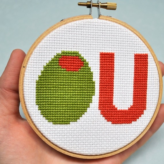 Cute Counted Cross Stitch Pattern Olive U I Love You by Sewingseed