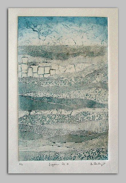 layers 3 collagraph landscape print by starkeyart, via Flickr