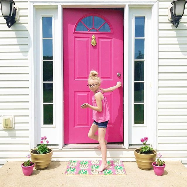When you go to snap a photo of the flowers your little babies got you for Mother's Day.... and a teenager walks outside. #whendidthishappen  Happy Mother's Day, pretty mamas!   #ourhammerhome hot pink front door and pineapple door mat via @targetstyle     #Regram via @ehcalligraphy