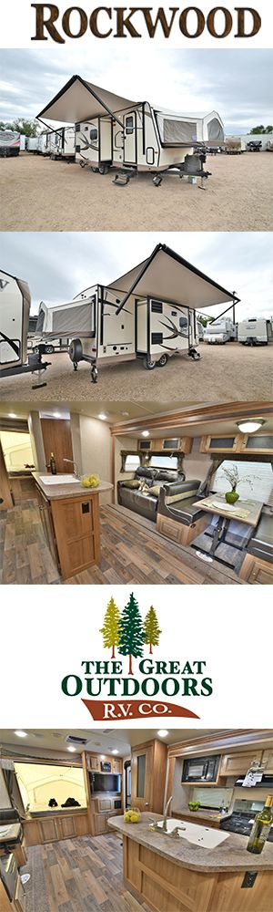 www.TheGreatOutdoors.com The Rockwood 23IKSS Roo is the latest hybrid floor plan from Forest River. It's unique design provides two opposing hard slide outs to open up the kitchen, dining room, and living areas. The beautiful island kitchen gives you a lot of storage and counter space making every meal a delightful experience. Also including two fantastic vent fans, deep pantries, wardrobe space for the whole crew, this camper provides added value for this wonderful hybrid travel trailer.