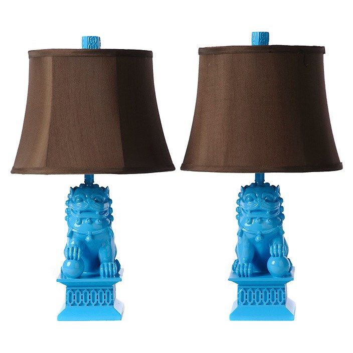 New at ZD | The Latest in Asian-Influenced Decor with Barbara Cosgrove Lamps: Barbara Cosgrove Foo Dog Caribbean Blue Mini Table Lamp Set of 2 @Zinc Door #zincdoor #barbaracosgrove #lighting