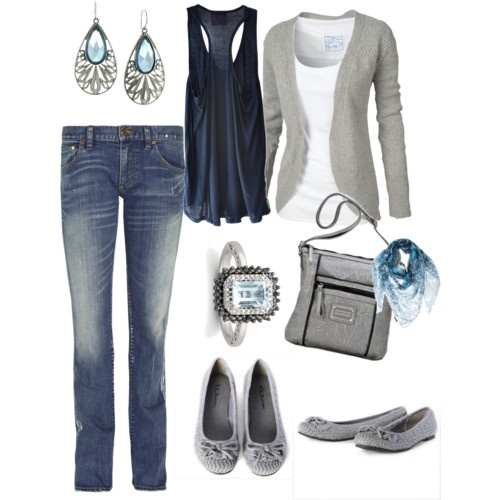 gray and blue: Dreams Closet, Color Combos, Blue, Cute Casual, Tanks Tops, Grey Sweaters, Flats, Gray, Earrings