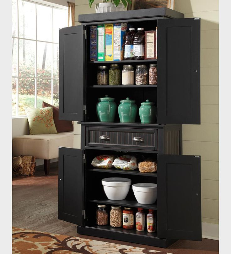 Finding Hidden Storage In Your Kitchen Pantry: Nantucket Kitchen Storage Pantry Cabinet In A Distressed