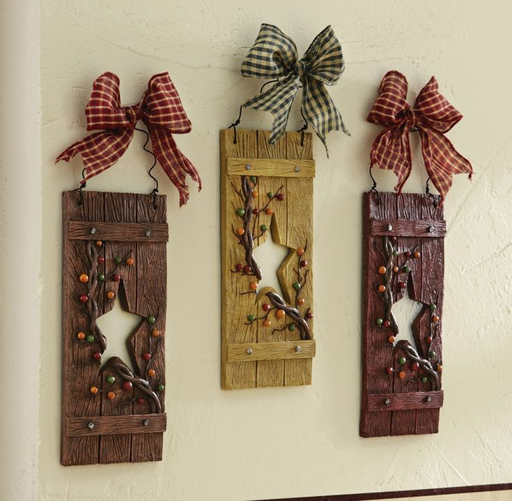 Primitive Hearts And Stars Country Hanging Wall Decor Set