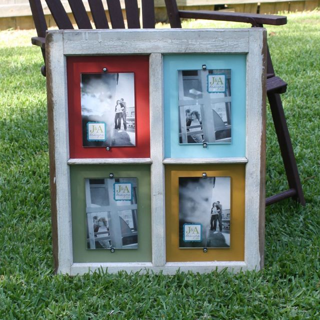 Old window made into frame: Old Window Frames, Photo Display, Vintage Window, Old Windows, Photo Frames, Fleas Marketing, Picture Frames, Great Ideas, Pictures Frames