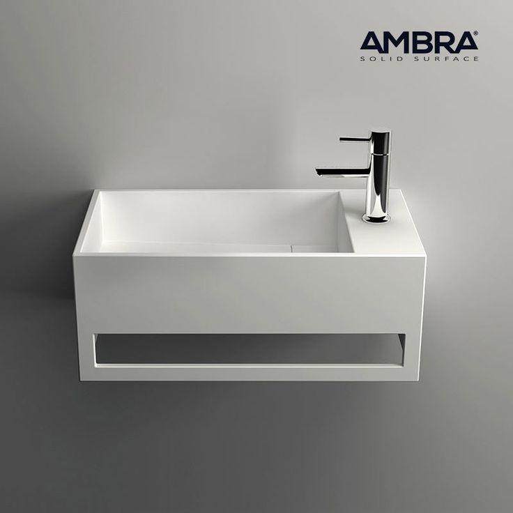 Lave-mains suspendu, vasque rectangle en Solid surface - Mona D