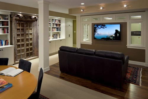 Tips-on-Decorating-Renovated-Basement: Basements Built In, Basements Lights, Architecture Interiors, Basements Design, Rooms Ideas, Basements Renovation, Basements Ideas, Tv Rooms, Basements Remodel