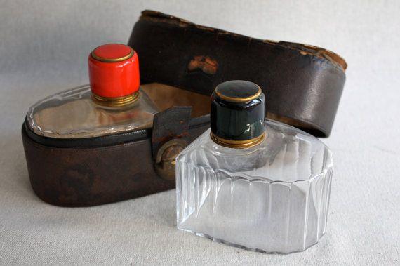 Vintage Travel Flask Decanters in Leather Case ♥ See more at www.PeriodElegance.etsy.com #vintagedecanter #travelflasks #giftforhim #mancave