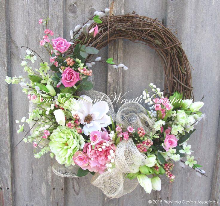 Spring Wreath, Easter Wreath, Spring Floral, Garden Wreath, Spring Designer Wreath, Elegant Wedding by NewEnglandWreath on Etsy https://www.etsy.com/listing/218795267/spring-wreath-easter-wreath-spring