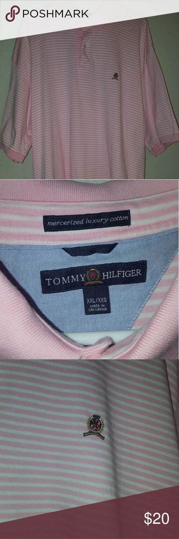 Tommy Hilfiger vintage polo Shirt is in good condition pink/White colorway has a stain as seen on the 4th pic shirt is pre-owned all sales final Tommy Hilfiger Shirts Polos