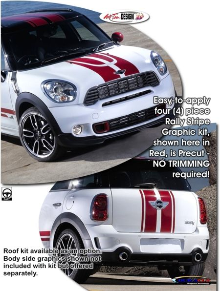 Mini Cooper Countryman Rally Stripe Graphic kits that are Precut and ready to install.