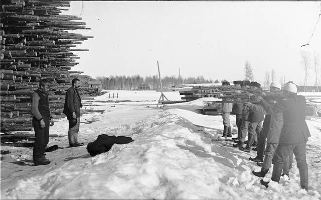 Finnish White Army executing Russian soldiers in the front lines of the Finnish Civil War, 1918.
