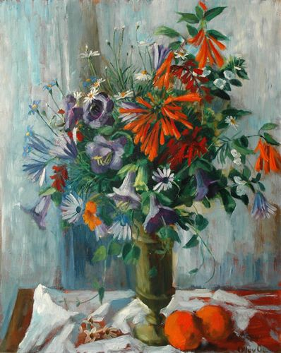 Margaret Olley -  Still Life with Oranges 1964 oil on board