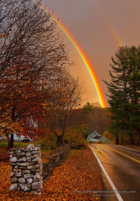 ~~Spofford Rainbow ~ New England autumn and double rainbow in Spofford, New Hampshire by Jeff Newcomer~~