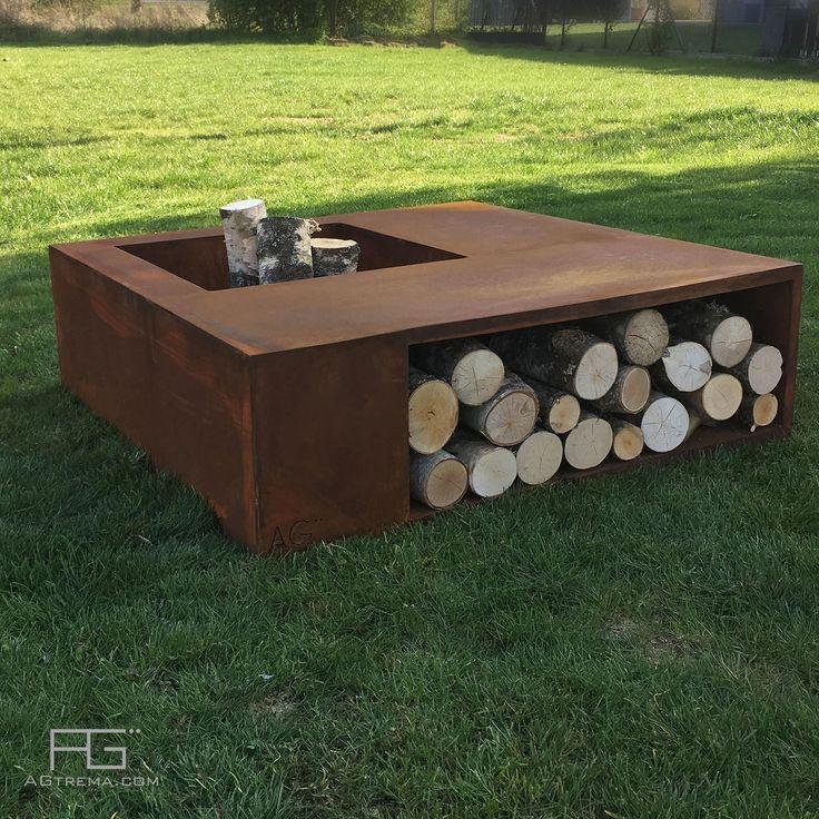 Brasero design avec rangement range bois pour buches, en acier Corten, compŏsĭtus, artisanal et fabriqué en made in france par AGtrema