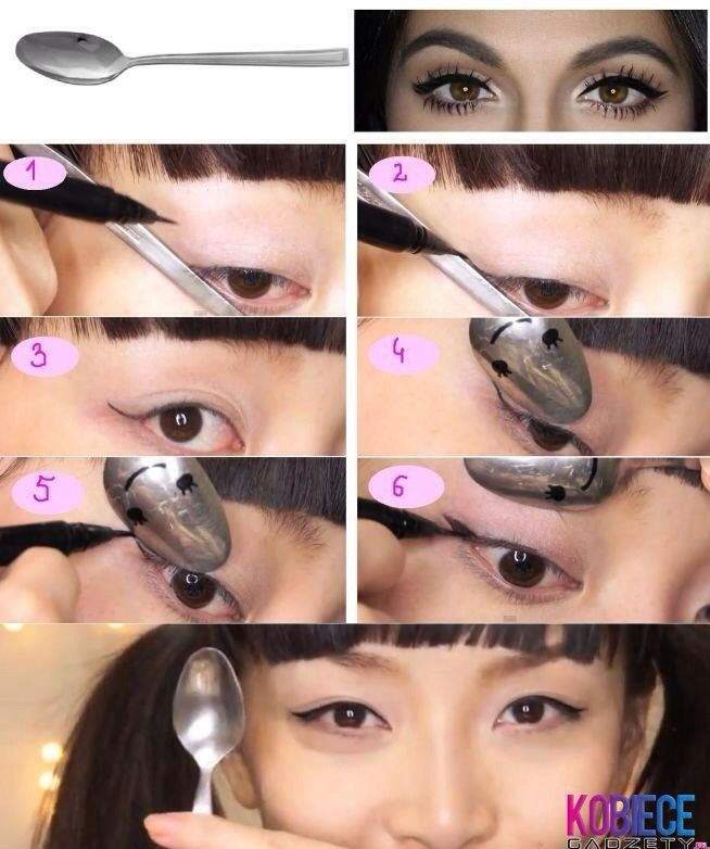 Use A Spoon To Put Eyeliner On