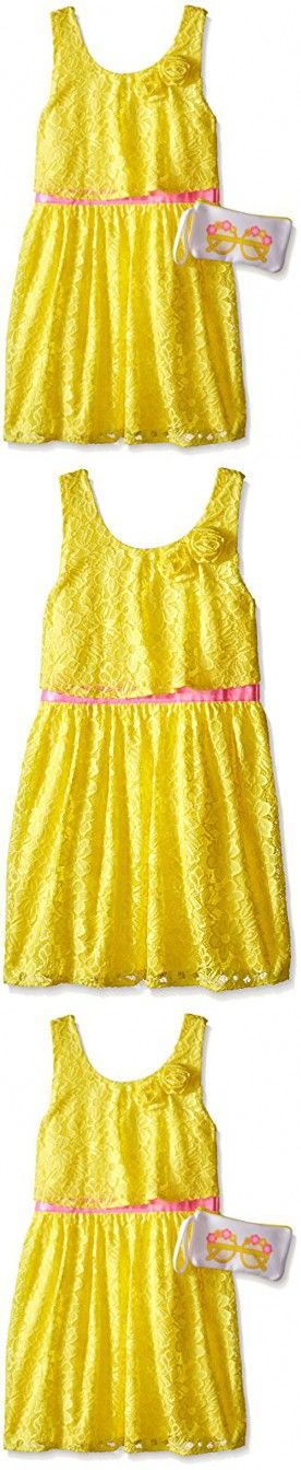 Big Girls Weekend In Newport Lace Dress with Bag Sun Yellow Small/7/8