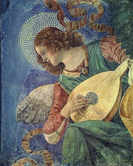 Angel with Lute,1480 - Basilica dei Santi Apostoli, now in the sacristy of St. Peter's ~ by Melozzo Da Forli (Italian Renaissance painter & architect, 1438-94)