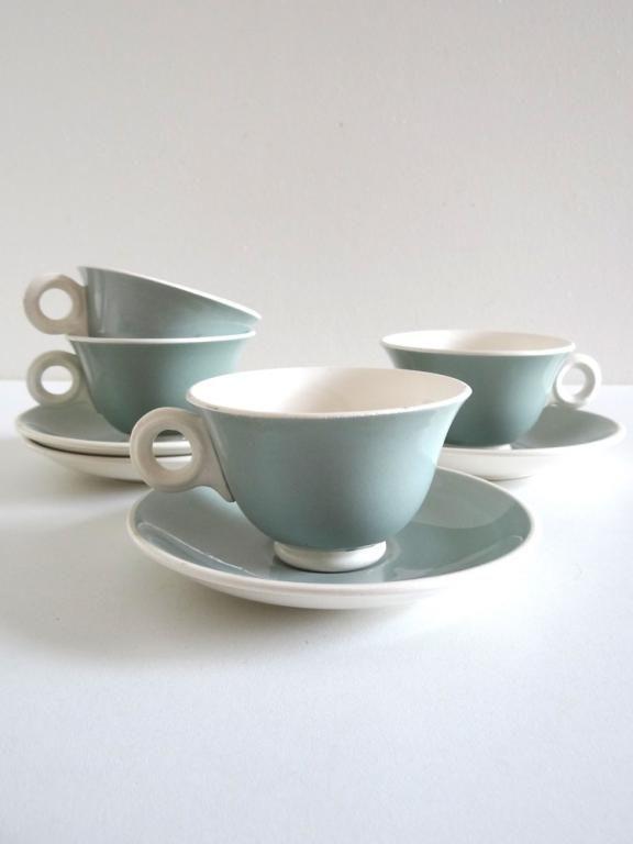 4 tasses à café anciennes vert amande Digoin Sarreguemines