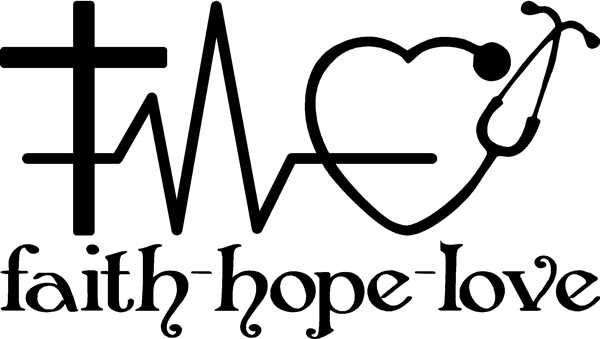 Faith, Hope, and Love vinyl decal with a cross, heart rhythm, and Stethoscope for car window, door, wall by SavageDesigns826 on Etsy