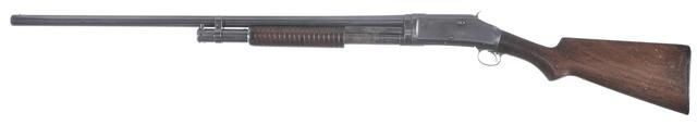 Winchester M1897 shotgun Designed by John Browning, manufactured by Winchester Repeating Arms c.1897-1957 - serial number E602975.12 gauge 5-round tubular magazine, pump action repeater, full-length 30″ barrel.
