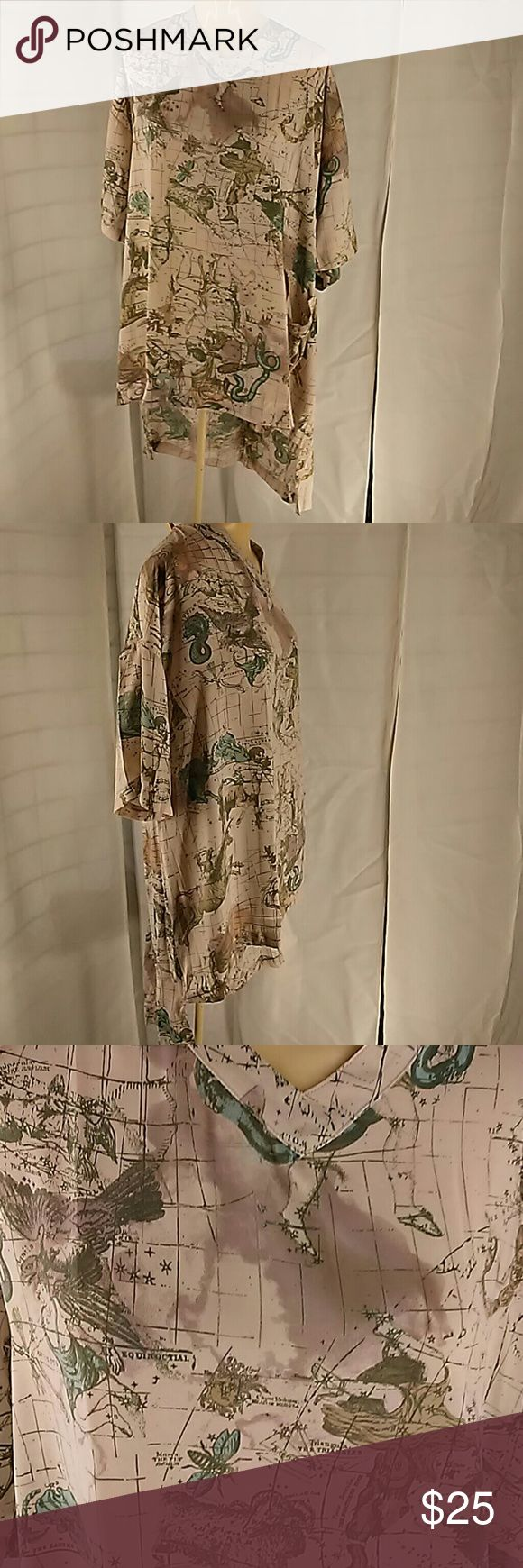 Melissa McCarthy Seven 7 TUNIC Constellations and Zodiac design. Uneven hem Long back hem shorter front. Muted colors of beige green and blue. Big shirt or large tunic with front left patch pocket. (If you watch SNL it's a Sean Spicer tunic).size 1x. Melissa McCarthy Tops Tunics