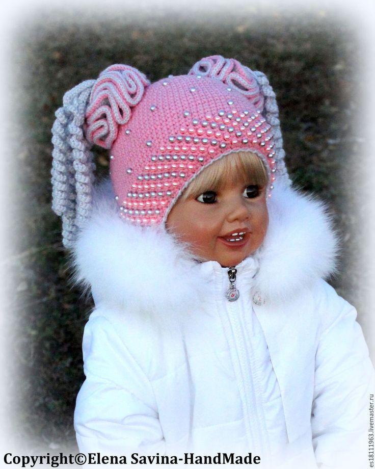 """Купить """"Озорные хвостики""""-шапочка розово-серенькая - розовый, шапочка для девочки, шапочка, шапка"""